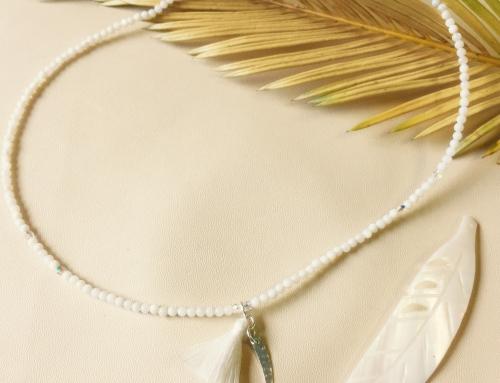 Naszyjnik – masa perłowa i kryształki Swarovski