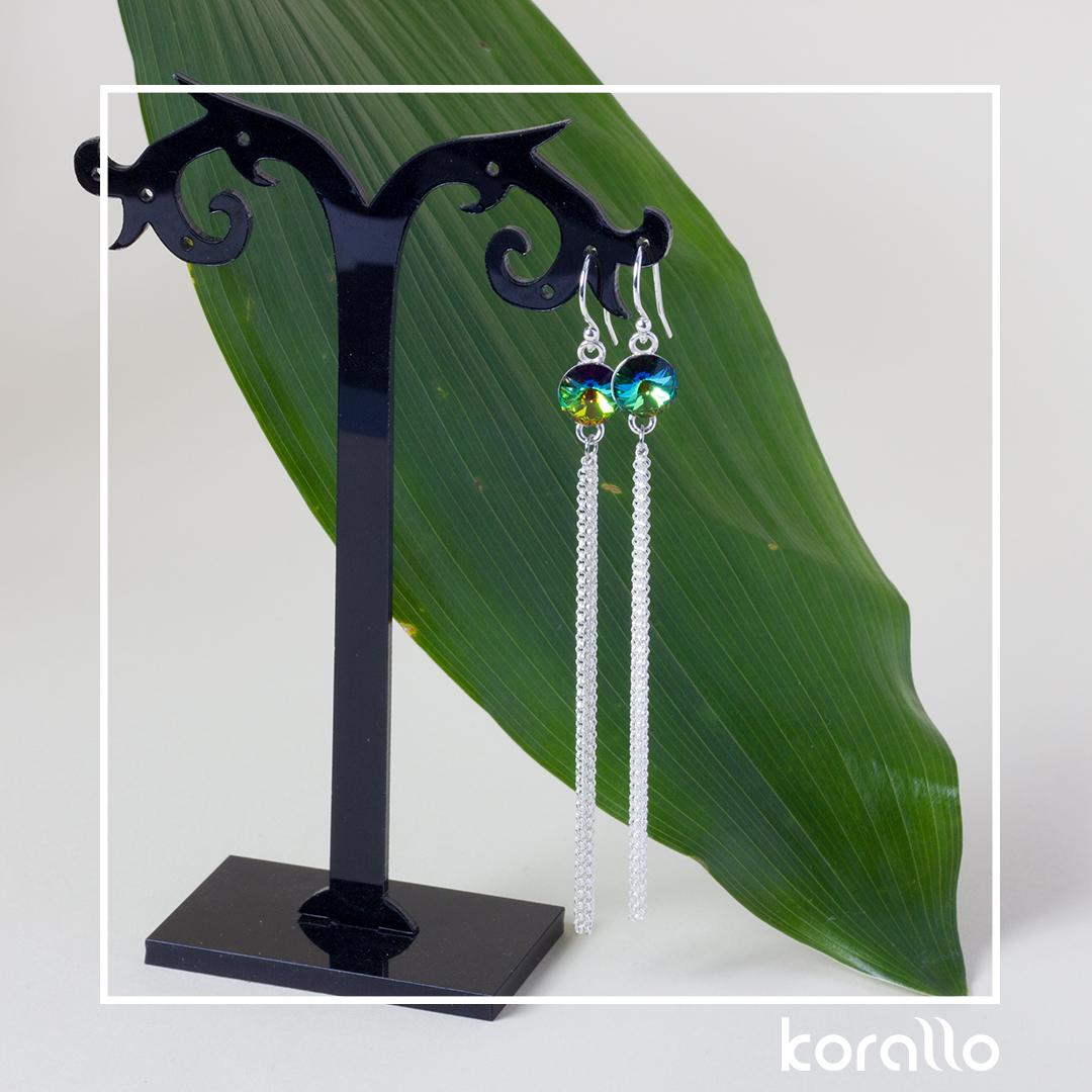 kolczyki kolorowe rivoli z łańcuszkowym chwostem