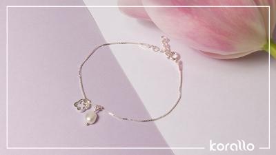 srebrna bransoletka z perła