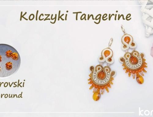 """Kolczyki sutasz """"Tangerine"""" ze Swarovski mini round"""