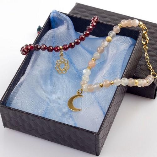 bransoletka z kamieni naturalnych i srebra