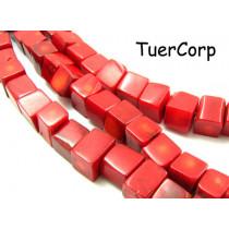 Koral bambusowy kostka czerwona 10mm