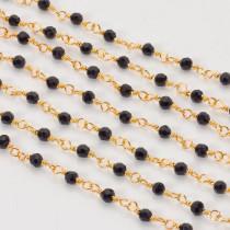 Łańcuch z kryształkami oponkami jet 3x4mm