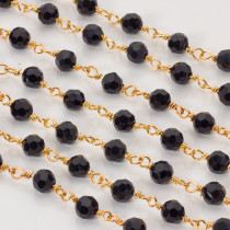 Łańcuch z kryształkami kulkami jet 6mm