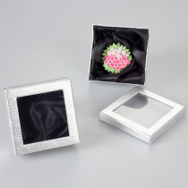 Srebrne pudełko z okienkiem 9x9cm