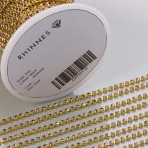 Taśma z kryształkami kolor złoty black diamond 2mm