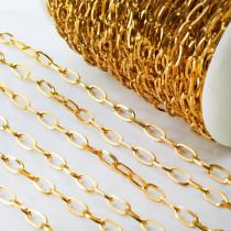 Łańcuch ze stali chirurgicznej owal złoty 6x12mm