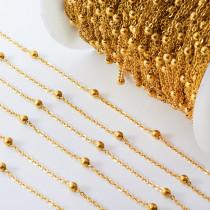 Łańcuch ze stali chirurgicznej z kuleczkami złoty 0,6mm