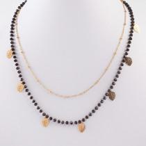 Naszyjnik z mini zawieszkami ze stali chirurgicznej liść monstery z kryształkami złoty 41cm