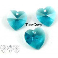 Swarovski heart 10mm blue zircon