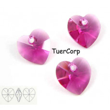 Swarovski heart 10mm fuchsia