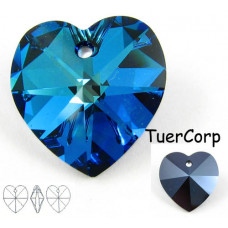 Swarovski heart 18mm bermuda blue