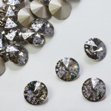 Swarovski rivoli stone silver patina 10mm