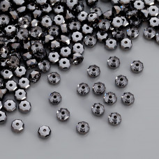 Swarovski rondelle bead silver night 6mm