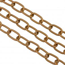 Łańcuch aluminiowy owal gładki antyczny brąz 15x7mm