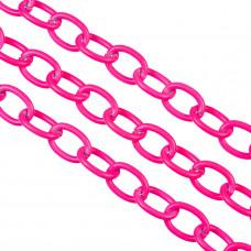 Łańcuch aluminiowy owal gładki neon pink 16x11mm