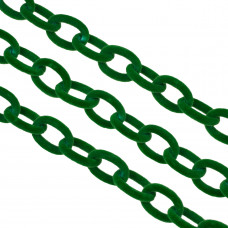 Łańcuch owal welurowy zielony 16x11mm