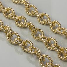 Łańcuch aluminiowy owal skręcany złoty 21x17