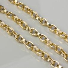 Łańcuch aluminiowy owal spłaszczony złoty  15x10mm