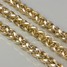 Łańcuch aluminiowy owal gładki skręcany złoty 20x15mm