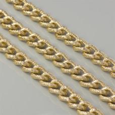 Łańcuch aluminiowy owal wygięty kropkowany złoty 18x14mm