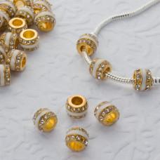 Koralik w złotym kolorze emaliowany z kryształkami crystal 5mm