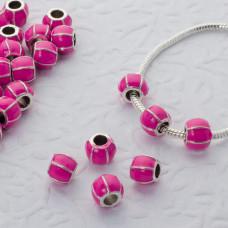 Koralik emaliowany pink rose 4.5mm