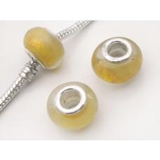 Koralik szkło weneckie złoty pas w żółci 13mm