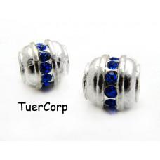 Przekładka z kryształkami walec capri blue 11mm