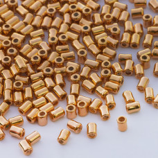 Zapięcie stoper z silikonem do cienkich sznureczków walec złoty 4x3mm