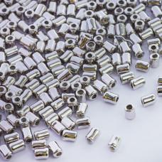Zapięcie stoper z silikonem do cienkich sznureczków walec srebrny 4x3mm