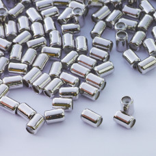 Zapięcie stoper z silikonem do cienkich sznureczków walec srebrny 6x4mm