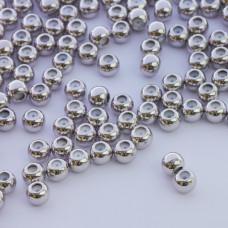 Zapięcie stoper z silikonem do cienkich sznureczków kulka srebrny 5mm