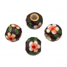 Kulka cloisonne czarna w kwiaty 18mm