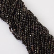 Obsydian czarny kulka fasetowana 4mm