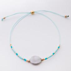 Bransoletka ze sztuczną perłą na sznureczku z koralikami Miyuki turkusowa