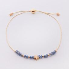 Bransoletka z gwiazdką i niebieskimi kryształkami na łańcuszku
