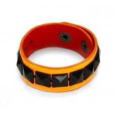 Fluorosencyjna pomarańczowa bransoletka czarne ćwieki piramidki  18-21cm