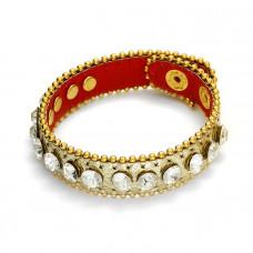 Bransoletka w kolorze złota kryształki nabijane z łańcuszkiem 18-21cm