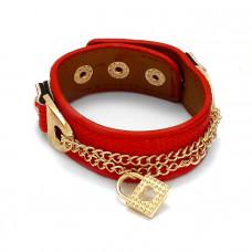 Czerwona bransoletka łańcuszki z kłódkami 18-21cm