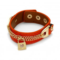 Pomarańczowa bransoletka łańcuszki z kłódkami 18-21cm