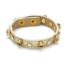 Bransoletka czaszki z kryształkami w kolorze złota 18-21cm