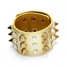 Bransoletka w kolorze złota ćwieki z kryształkami rzędy 18-21cm
