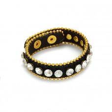 Bransoletka czarny pasek wysadzany kryształkami 18-21cm