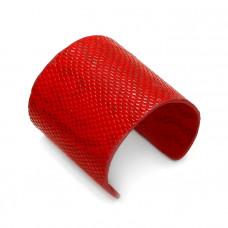 """Czerwona bransoletka cuff ze skórki 72mm """"uniwersalna"""""""