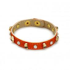 Pomarańczowa bransoletka czachy na pasku z kryształkami 18-21 cm