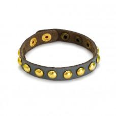 Granatowa bransoletka okrągłe złote ćwieki 18-21cm