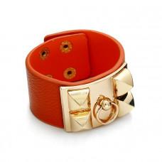 Pomarańczowa bransoletka z zawleczką złotą 18-21cm