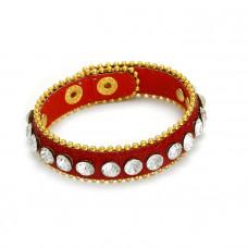 Czerwona bransoletka kryształki oplatane łańcuszkiem 18-21cm