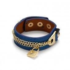 Niebieska bransoletka łańcuszek z kłódkami na skórce 18-21cm